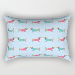 Cute dog lovers with dots in blue Rectangular Pillow