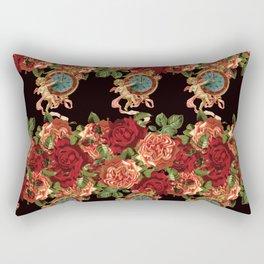 Cherub Floral Vertical Clock Garlands in Black Rectangular Pillow