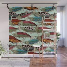Alaskan salmon mint Wall Mural