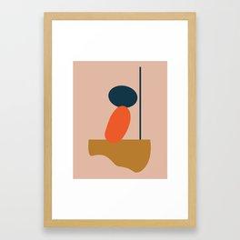 Abstract #1 Orange Blue Beige Framed Art Print