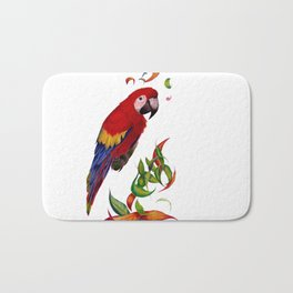 red parrot with rainbow leaves Bath Mat