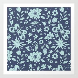 Blue Butterflies, Starfish and Flowers Art Print
