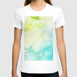 Abstract lime green teal hand painted watercolor pattern T-shirt