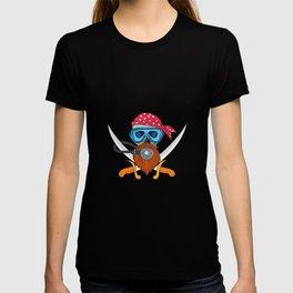 Pirate Skull Beard Diving Mask Drawing T-shirt