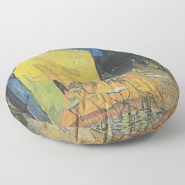 Cafe Terrace at Night by Vincent van Gogh Floor Pillow