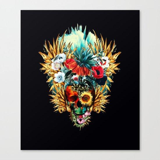 Floral Skull Vivid Canvas Print