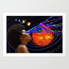 Solar Light Beam Visions - Space Universe Planets Art Print