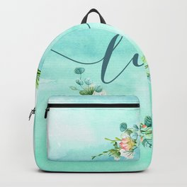 Love--Modern Typography Watercolors Flowers Wreath Backpack