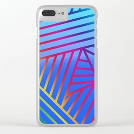 Rainbow Ombre Pattern with Blue Background Clear iPhone Case