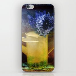 One yellow watering can with violet flowers iPhone Skin