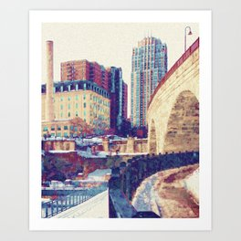 Minneapolis, Minnesota Skyline Stone Arch Bridge Art Print