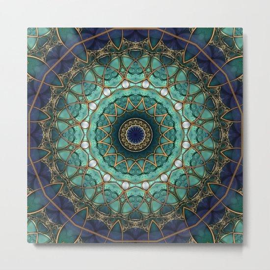 Majestic Topaz Ocean Kaleidoscope Metal Print