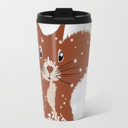 Red squirrel in the winter snow with white snowflakes cute home decor nursery drawing Travel Mug