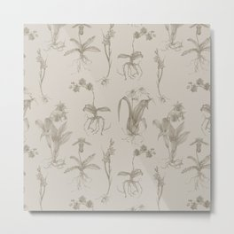 Orchid All-Over Pattern Tan Metal Print