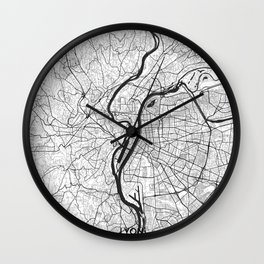 Lyon Map Gray Wall Clock