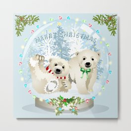 Snow globe bears Metal Print