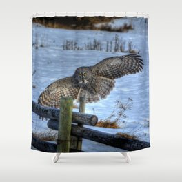 Great Grey Arriving Shower Curtain