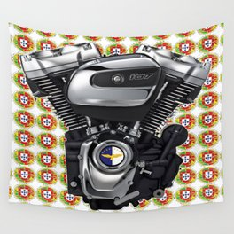 Portuguese Biker collage in white Wall Tapestry