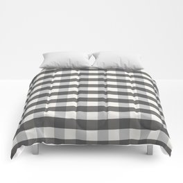 Grey and Pottery White Plaid Gingham Farmhouse Country Canvas digital texture Comforters