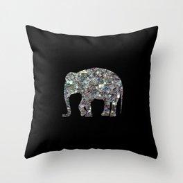 Sparkly colourful silver mosaic Elephant Throw Pillow