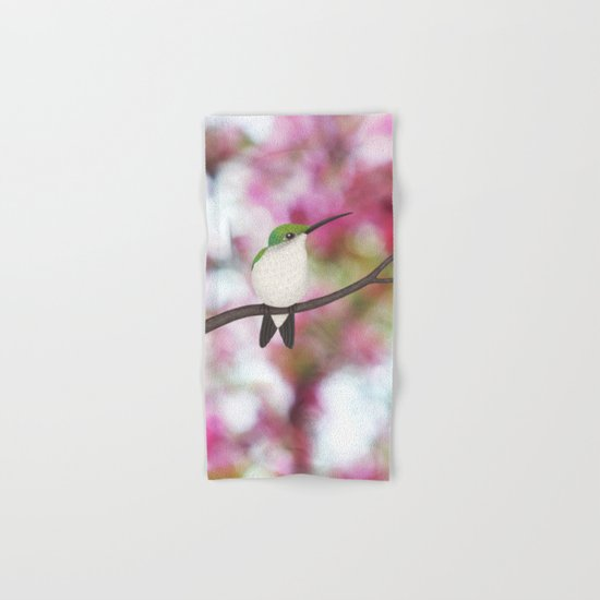 ruby throated hummingbird - female on pink bokeh Hand & Bath Towel