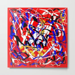 Abstract red white yellow blue Metal Print