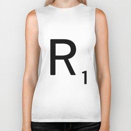 Letter R - Custom Scrabble Letter Tile Art - Scrabble R Initial Biker Tank