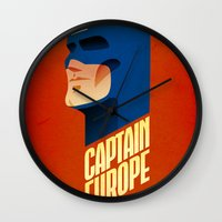 europe Wall Clocks featuring Captain Europe by Robert Farkas