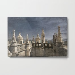 Monochrome treatment of the turrets at the Torre de Belem in Lisbon Metal Print