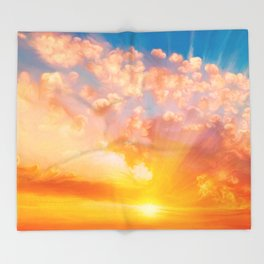 Sunset feather Throw Blanket
