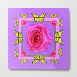 Lilac Art yellow Butterflies Rose Design Metal Print