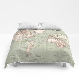 Vintage Map of The World (1915) Comforters