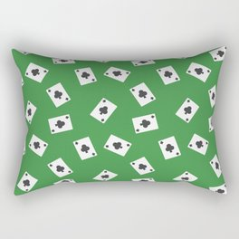 Playing cards clubs suit on green Rectangular Pillow