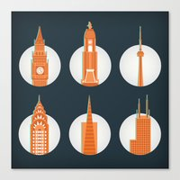 cities Canvas Prints featuring Cities by Monica O