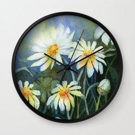 Daisies Watercolor Flowers Wall Clock