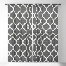Moroccan Black and White Lattice Moroccan Pattern Sheer Curtain