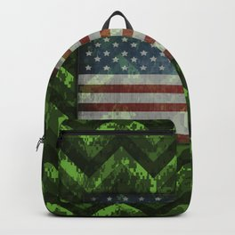 Harlequin Green Digital Camo Chevrons with American Flag Backpack