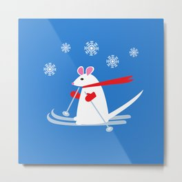 Christmas Mouse on Skis Metal Print