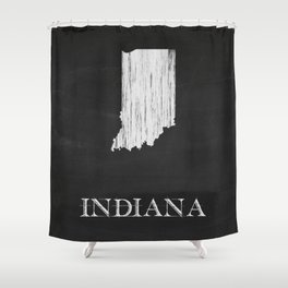 Indiana State Map Chalk Drawing Shower Curtain