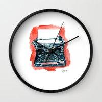 typewriter Wall Clocks featuring Typewriter by Elena Sandovici