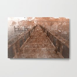 Acrylic Sepia Pier Metal Print