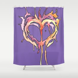 Watercolor Heart IV Shower Curtain