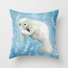 Manatee and Butterfly Watercolor and Digital Art Throw Pillow