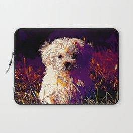 maltese dog vector art late sunset Laptop Sleeve