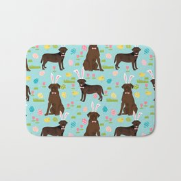 Chocolate Lab labrador retriever dog breed pet art easter pattern costume spring Bath Mat