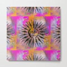 Sun illustration pink orange Metal Print