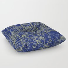 London! Navy Floor Pillow