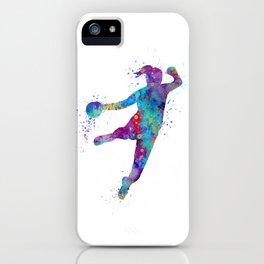 Handball Girl Colorful Watercolor Sports Art iPhone Case