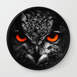 Fire eyes owl Wall Clock