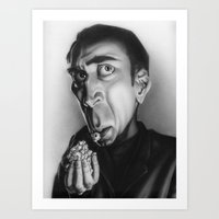 nicolas cage Art Prints featuring Nicolas Cage with popcorn. by Patrick Dea